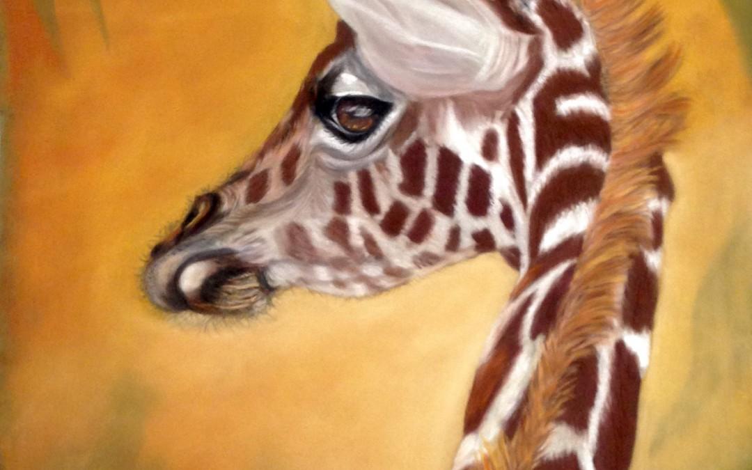 girafe-jong pastel krijt 30×40 cm